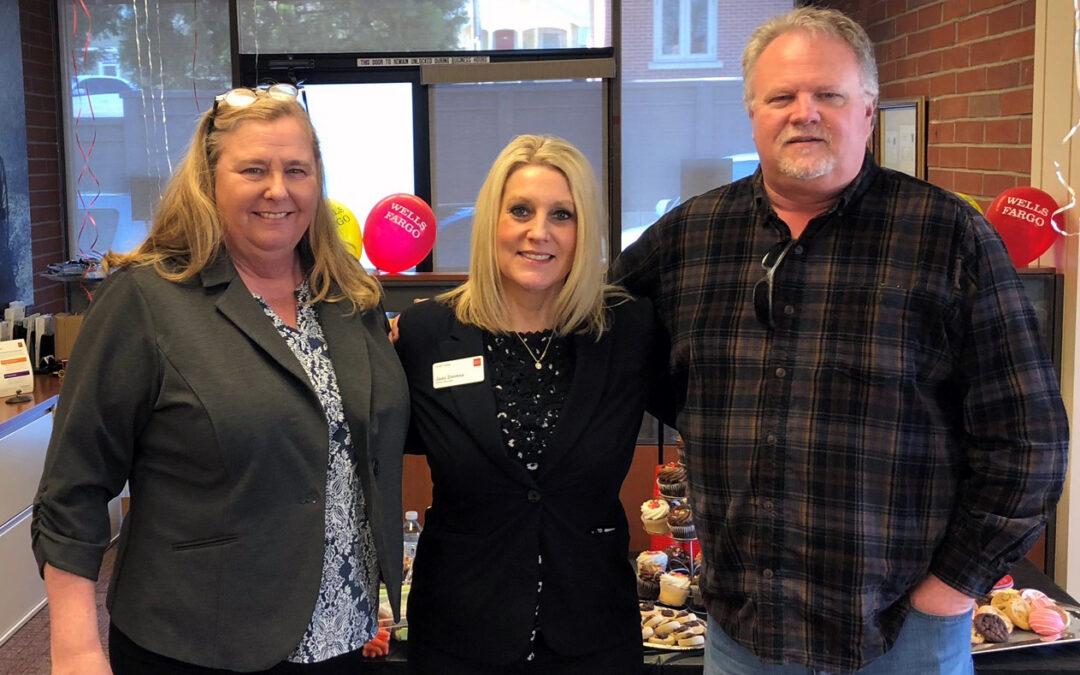 l-r: NC Habitat Executive DIrector Lorraine Larson, Wells Fargo Branch Manager Jami Stevens, NC Habitat Fund Development Manager Jim Phelps
